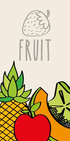 pineapple papaya apple and carambola slice fruit natural banner vector illustration