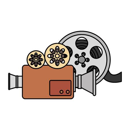 cinema video camera with reel vector illustration design