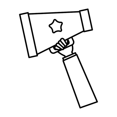 hand with cinema director megaphone isolated icon vector illustration design