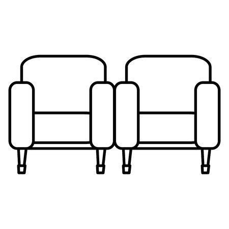 cinema chairs isolated icon vector illustration design