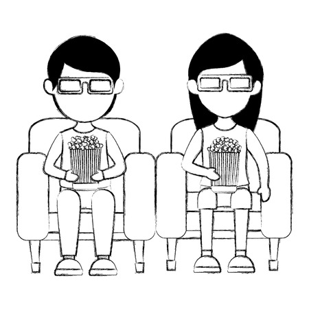 couple in cinema 3d chair vector illustration design