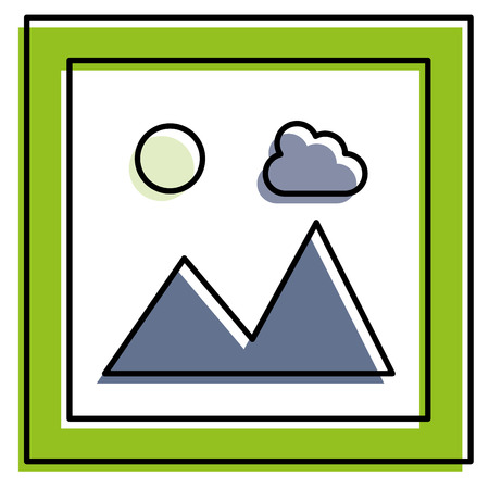 A landscape snapshot isolated icon vector illustration design
