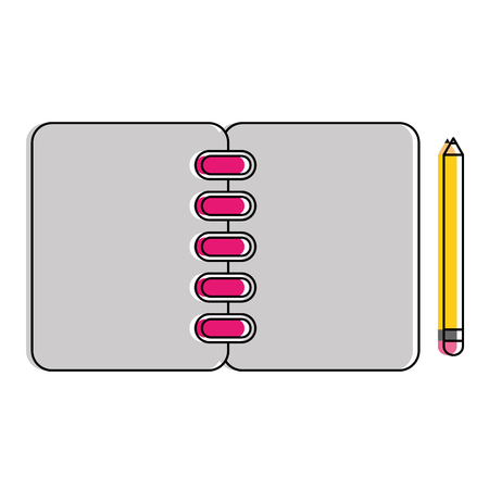 A notebook with pencil icon vector illustration design