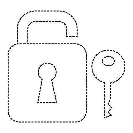 A safe secure padlock with key vector illustration design Illustration