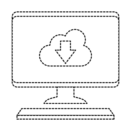 A desktop computer with cloud computing vector illustration design
