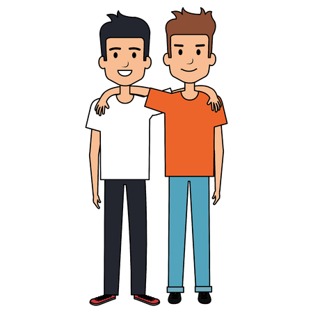 couple of male friends avatars vector illustration design