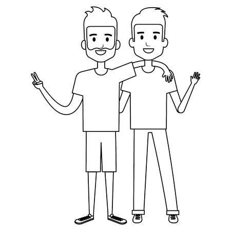 Male friends avatars vector illustration design