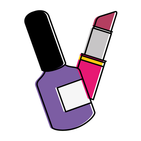 fashion lipstick with nailspolish vector illustration design