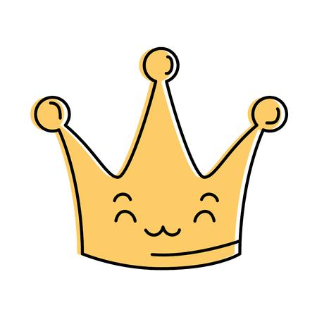 Queen crown smiling character illustration design Çizim