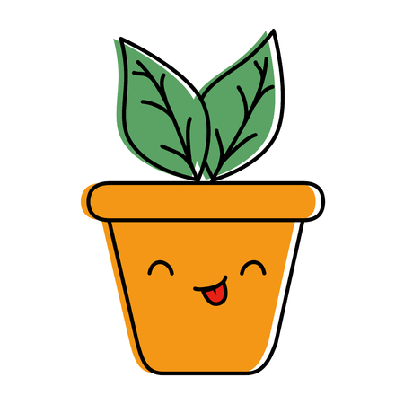 Cute home potted plant character illustration design