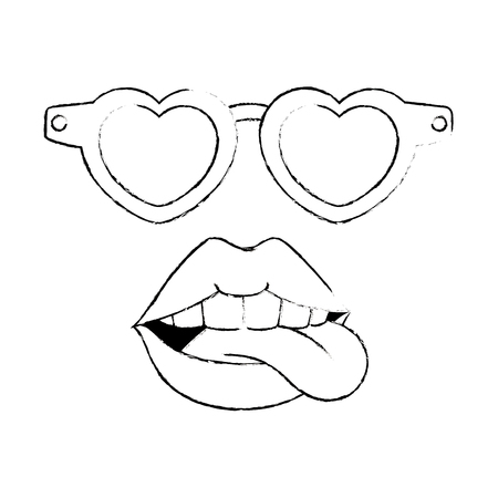 Pop art lips with sunglasses vector illustration design. 向量圖像