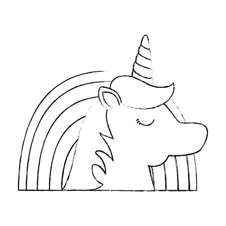Cute fantasy unicorn with rainbow character vector illustration design.