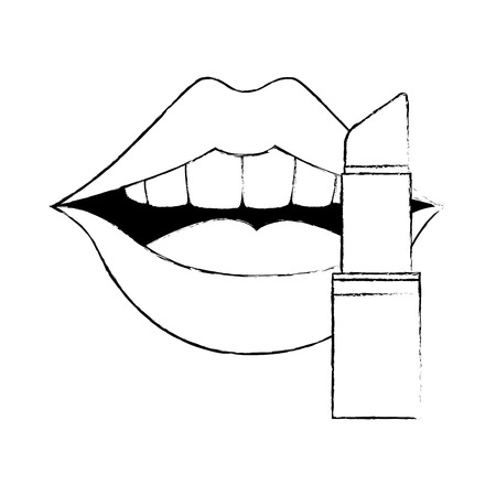 Pop art lips with lipstick vector illustration design. Иллюстрация
