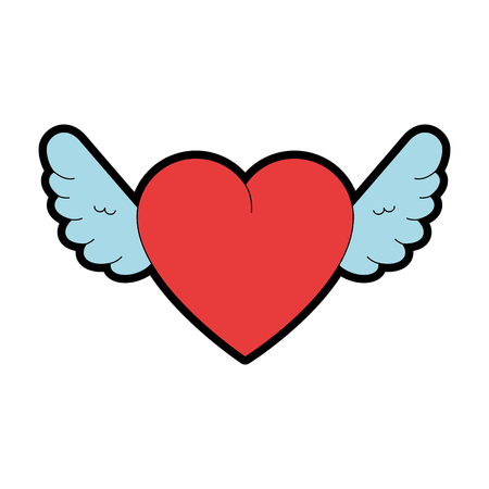 Cute heart with wings vector illustration design. Ilustração