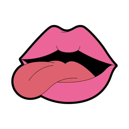Pop art lips with tongue out vector illustration design.