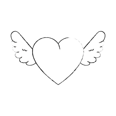 Cute heart with wings