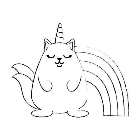 Cute fantasy hamster with rainbow Illustration