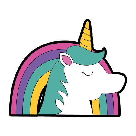 Cute fantasy unicorn with rainbow Archivio Fotografico - 96437485