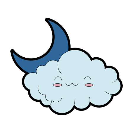 Cute cloud with moon character Illustration