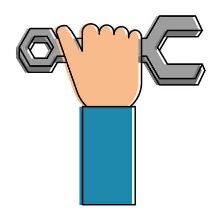 hand with wrench key isolated icon vector illustration design Ilustracja