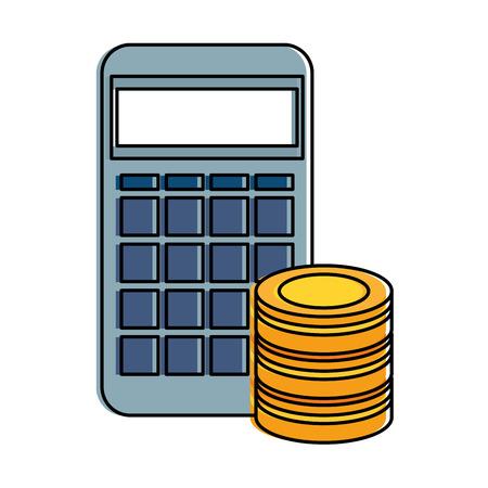 calculator math with hard disk vector illustration design