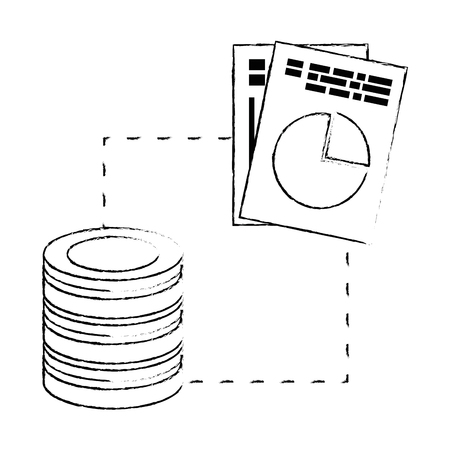 data center disk with documents vector illustration design