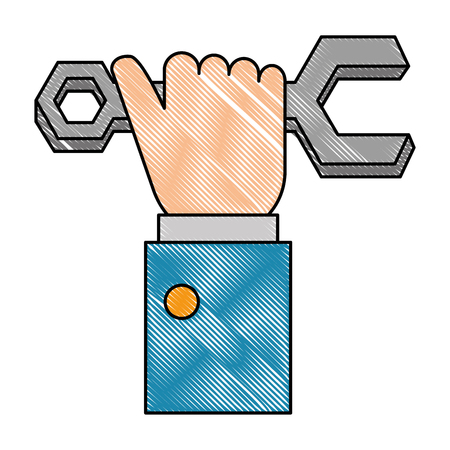 Hand with wrench key isolated icon vector illustration design. Illustration