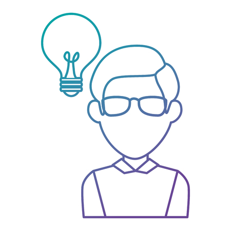 Bulb light idea with man vector illustration design. Illustration