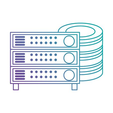 Data center disk with server vector illustration design. Illustration