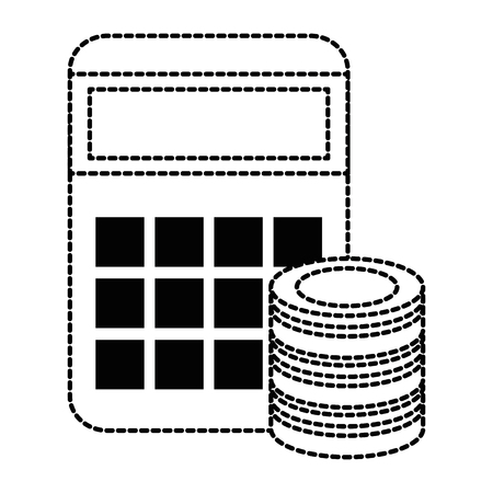 Calculator math with hard disk vector illustration design.