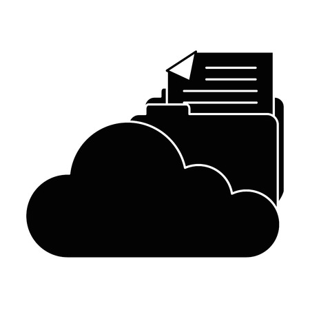 cloud computing with file folder vector illustration design