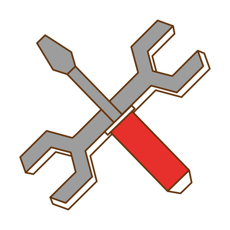 wrench key and screwdriver vector illustration design Ilustracja