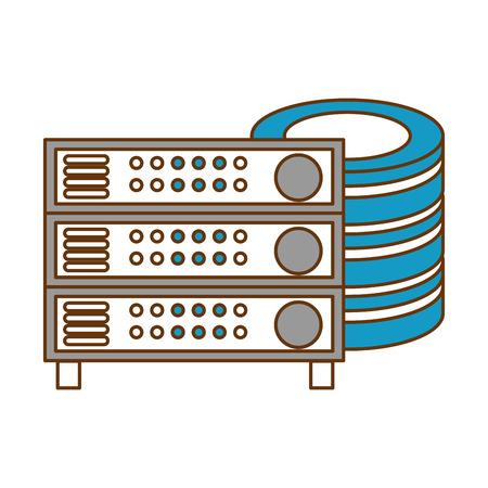 data center disk with server vector illustration design