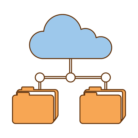 cloud computing with file folders network vector illustration design