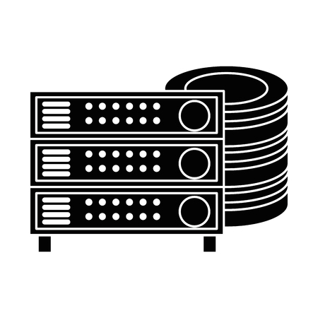 data center disk with server vector illustration design