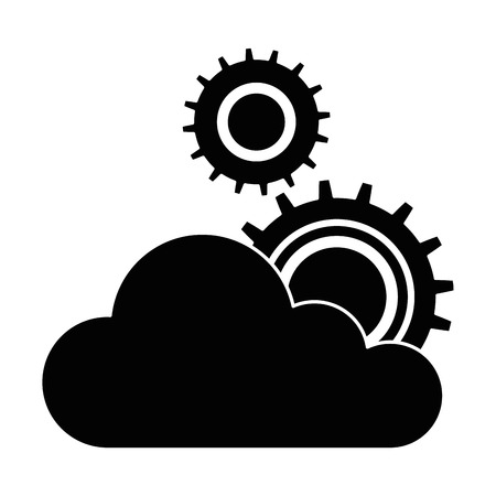 cloud computing with gears machinery vector illustration design Illustration