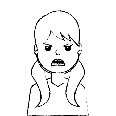 angry young woman avatar character vector illustration design