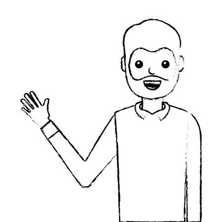 young man waving happy avatar character vector illustration design 写真素材