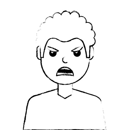 angry young man avatar character vector illustration design