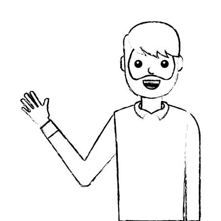young man waving happy avatar character vector illustration design Foto de archivo - 96390030