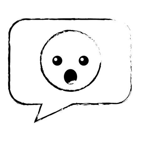 speech bubble with surprised emoji vector illustration design Imagens