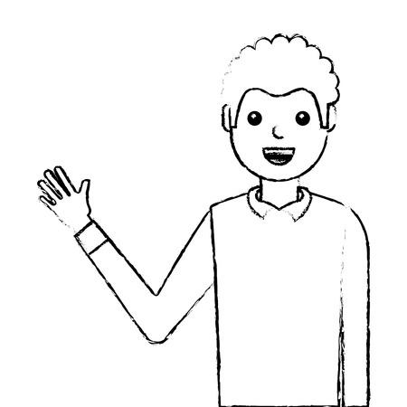 young man waving happy avatar character vector illustration design Stock Photo