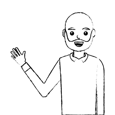 young man waving happy avatar character vector illustration design 版權商用圖片