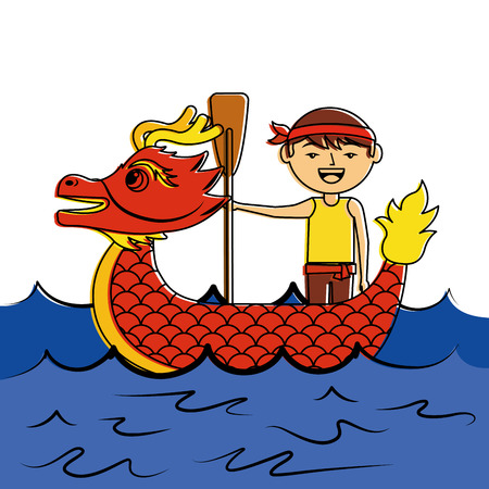 red dragon man rowing festival chinese traditional vector illustration