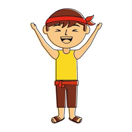 funny cartoon chinese man standing arms up vector illustration 版權商用圖片 - 96413065