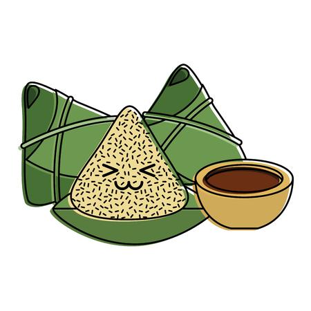 happy rice dumpling and sauce cartoon vector illustration Archivio Fotografico - 96413066