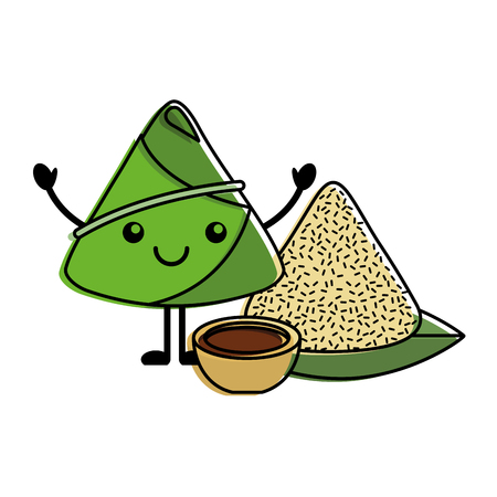 kawaii happy rice dumpling with sauce cartoon vector illustration