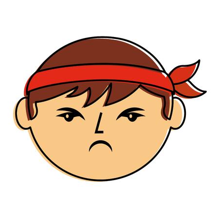 만화 얼굴 화난 중국 남자 벡터 일러스트 레이 션
