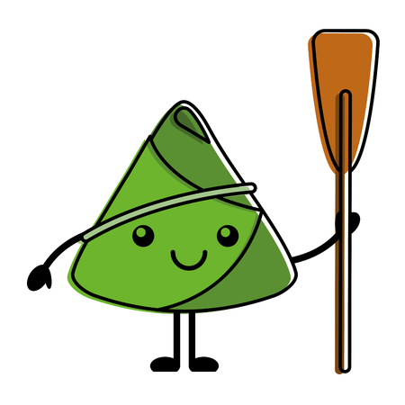 happy rice dumpling holding wooden oar vector illustration