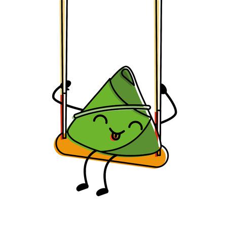 happy rice dumpling in swing play cartoon vector illustration Illustration